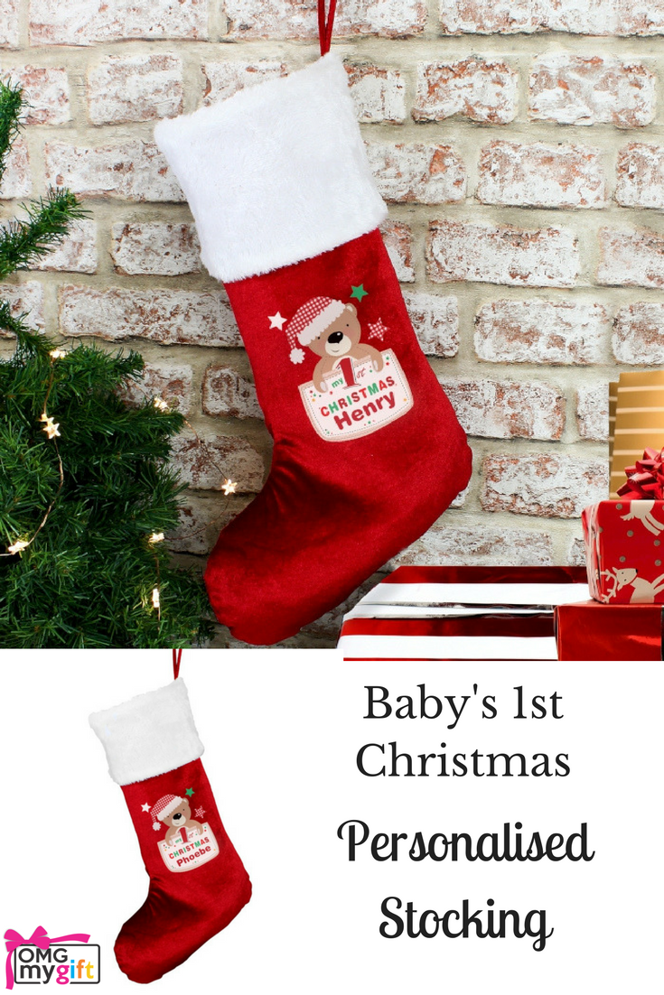 A personalised plush Christmas Stocking for a Baby\'s First Christmas ...