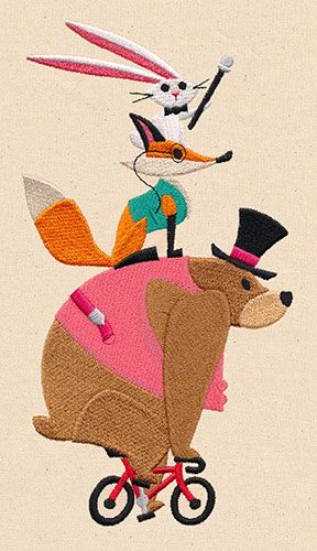 A dapper trio of woodland creatures enjoys an excursion on the bike.