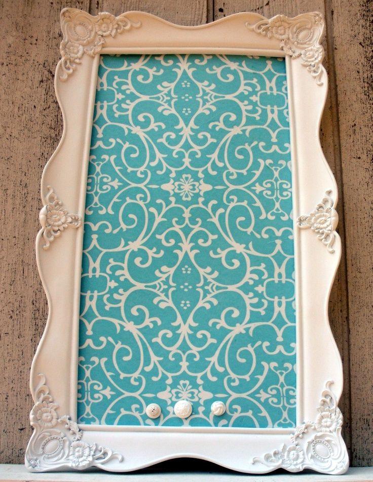 Tiffany Blue Home Decor | Beautiful Tiffany Blue Fabric   Magnetic Board 17  X 28 .