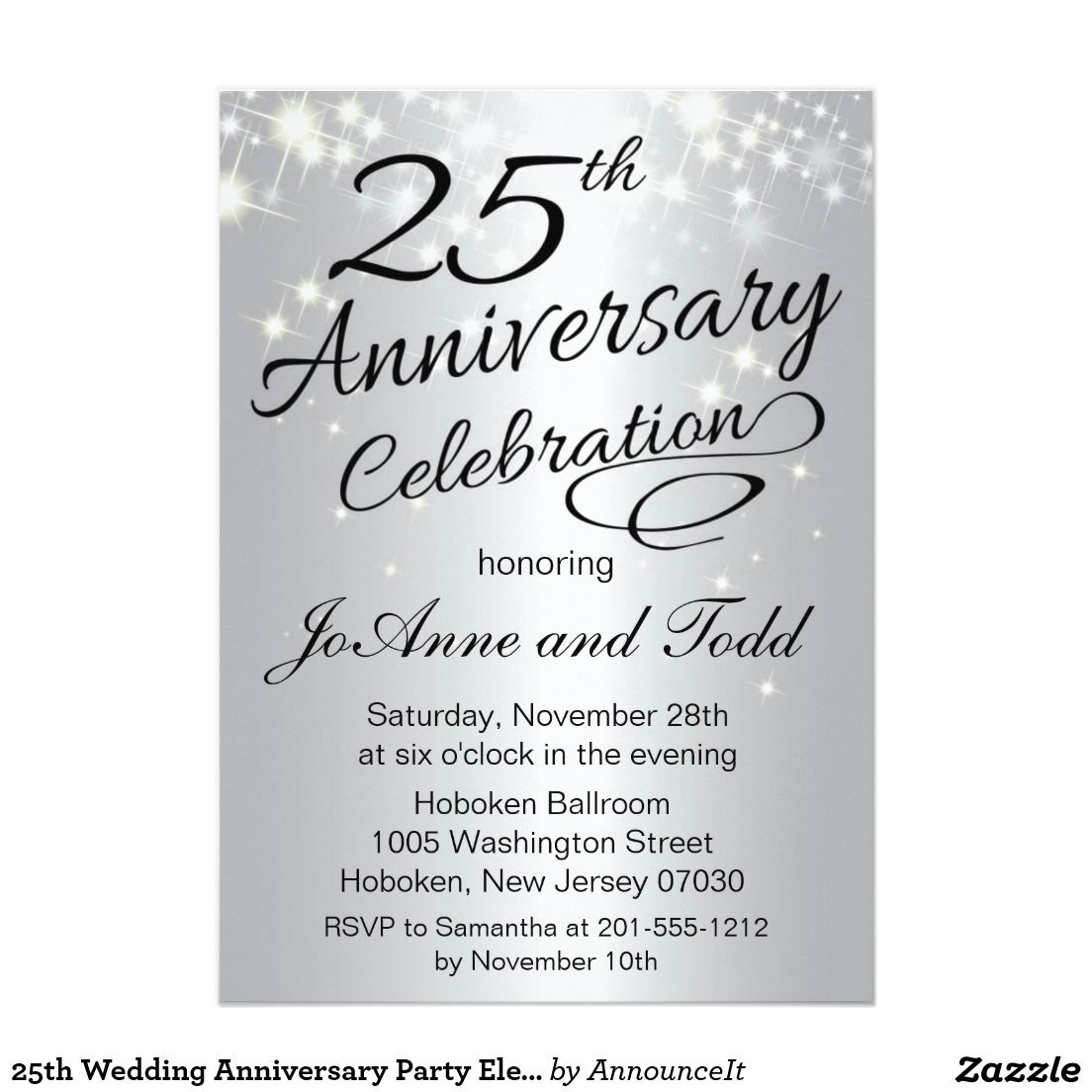 25th Anniversary Invitation Zazzle Com 50th Wedding