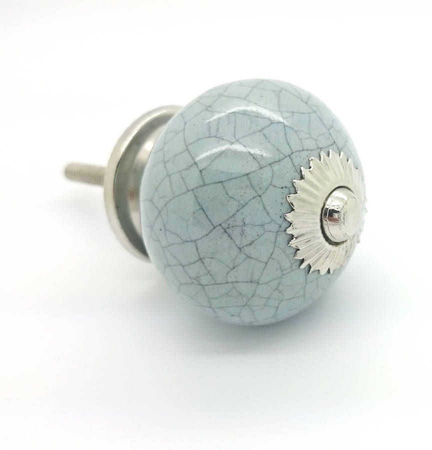Grey Crackle Coloured Ceramic Round Cupboard Door Knob Drawer Pull Handle  Is Suitable For Any Wardrobe, Chest Of Drawers And Cabinet Doors.