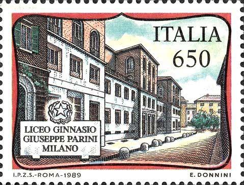 1989 - Scuole d'Italia: Liceo Giuseppe Parini di Milano - veduta della facciata del palazzo del Liceo