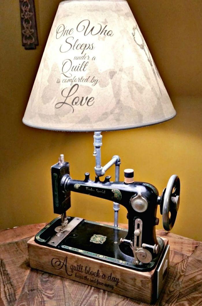 diy lampe de chevet de machine à coudre #FarmhouseLamp - lampe für wohnzimmer