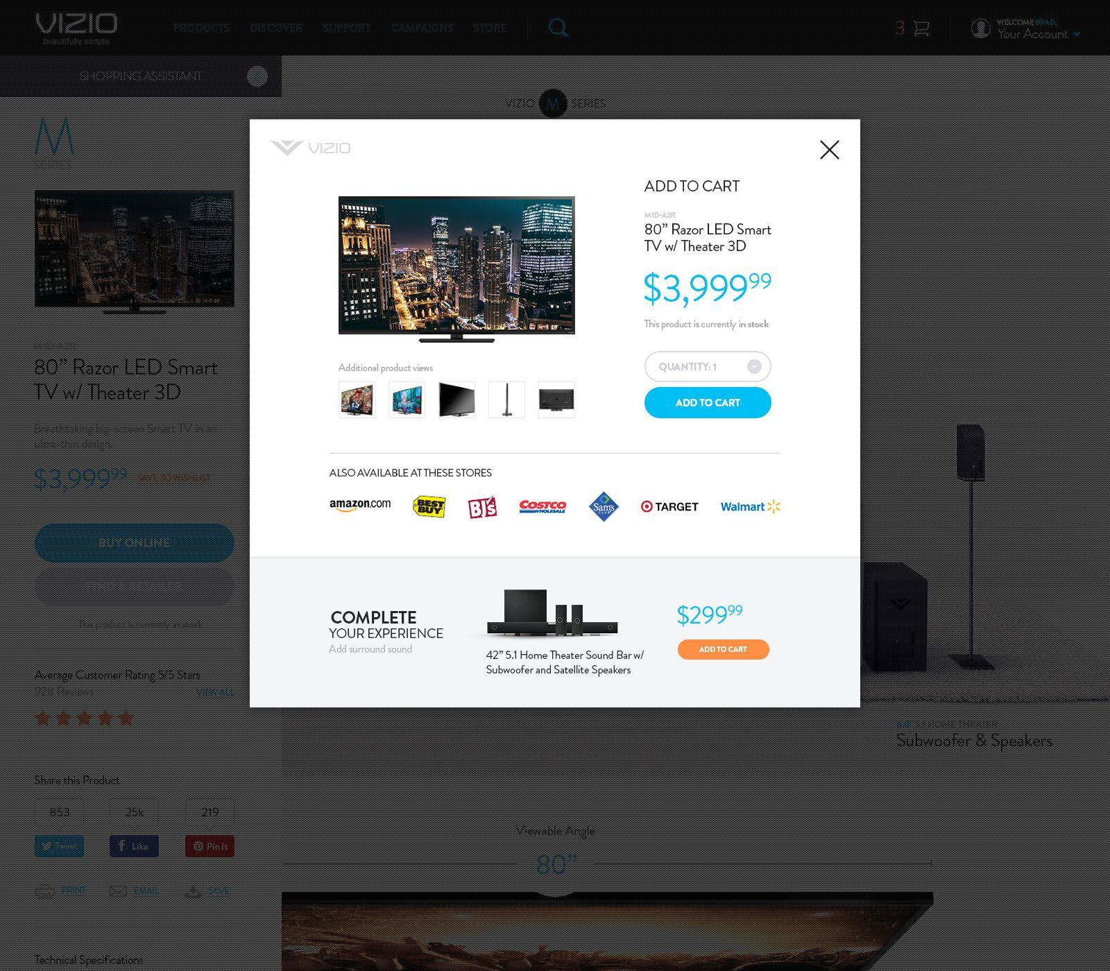 Vizio Add To Cart Fullpixels Jpg By Brad Burke Website Design Inspiration Vizio Ads