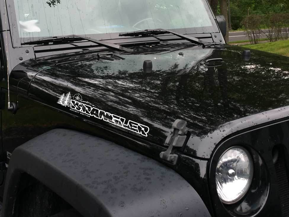 Pair Jeep Wrangler Unlimited Compass Mountains Tree Vinyl Hood