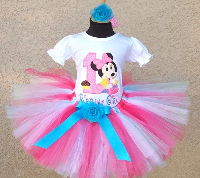 Baby Minnie Mouse Pink Blue Cupcake - Birthday Tutu Outfit