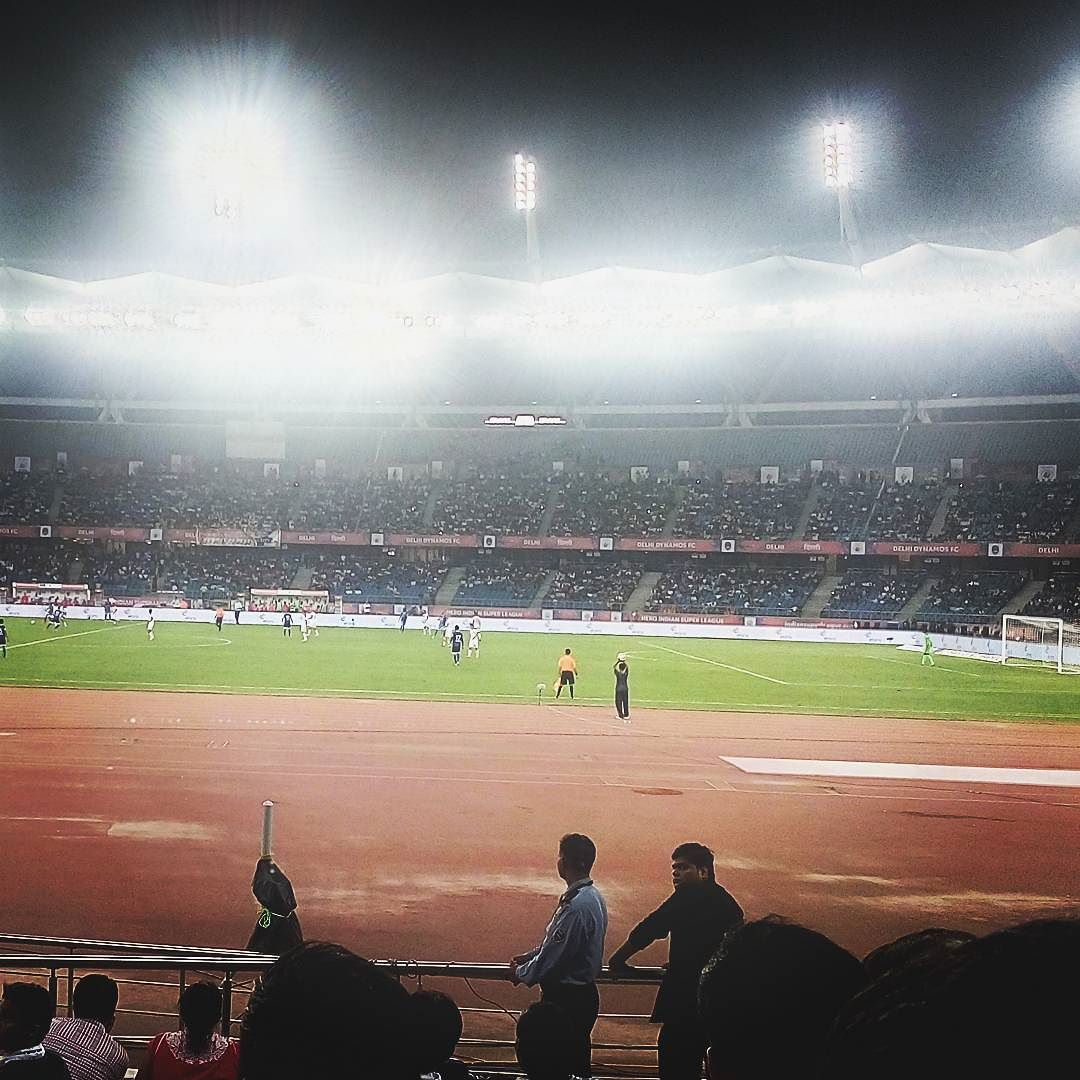 Watching #delhidynamos #winning and crowd going wild with the #fireworks @ every #score #goal #pride #indiansuperleague  #football #footballgame #footballfriday #weekendlove #delhi #worknplay #goodlife #goout