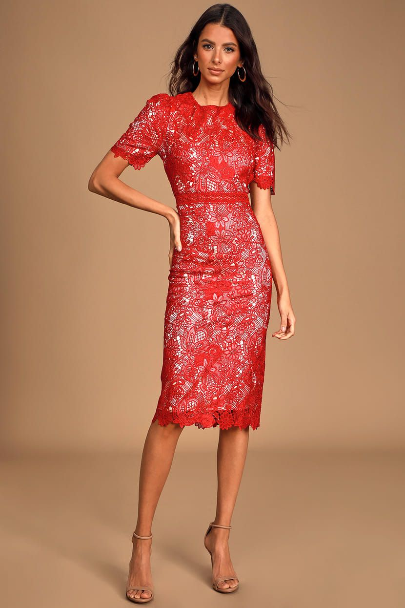 Amore red crochet lace short sleeve midi dress midi