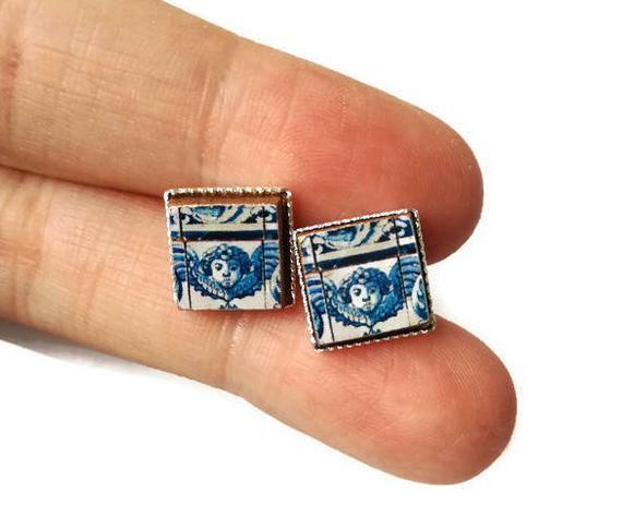 Angel stud earrings, Portuguese tile earrings, angel tile earrings, Portugal, Portuguese gifts, azulejo earrings, small angel studs