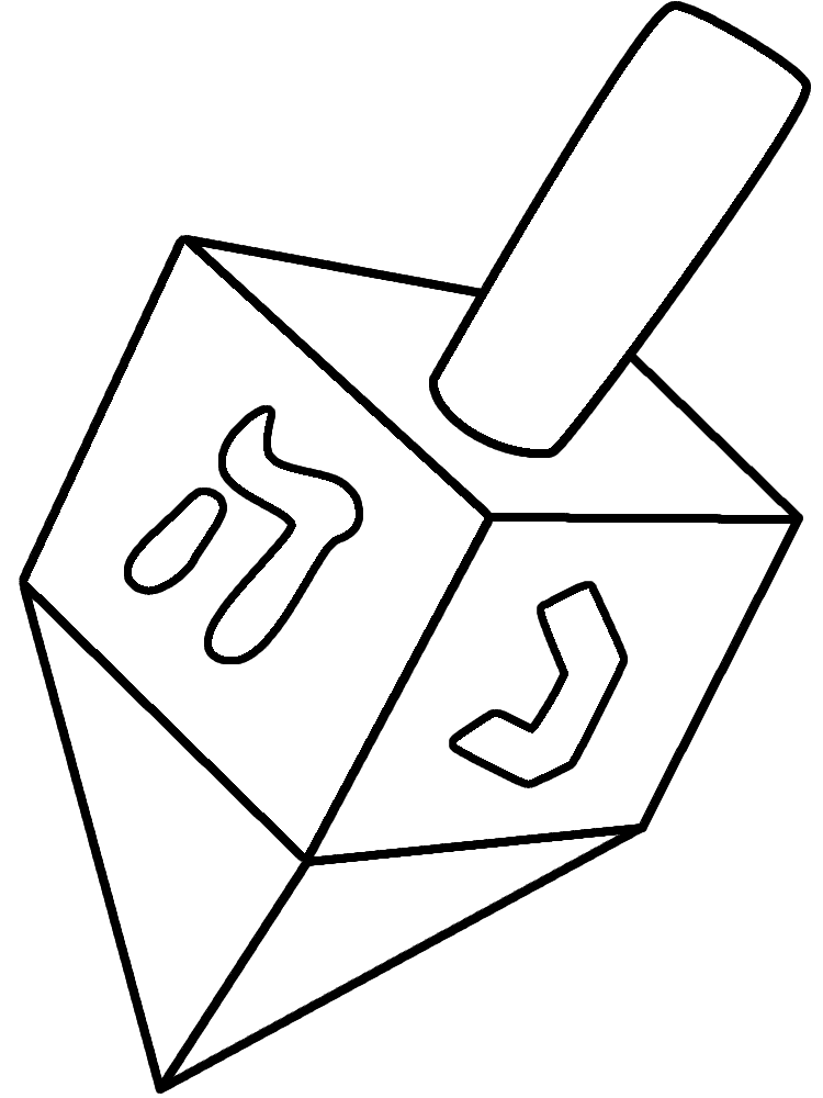 Hanukkah Coloring Page With A Large Dreidel And The Words Happy