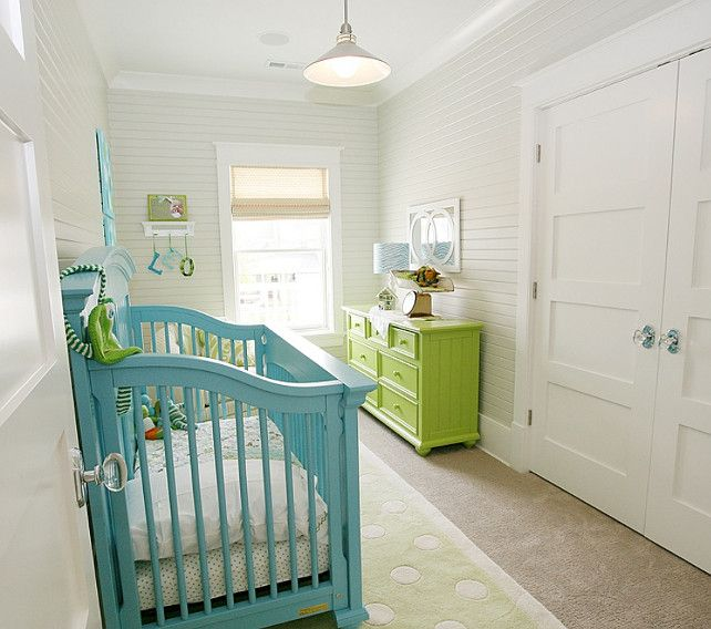Nursery Decor Details. Cute nursery design with turquoise crib ...