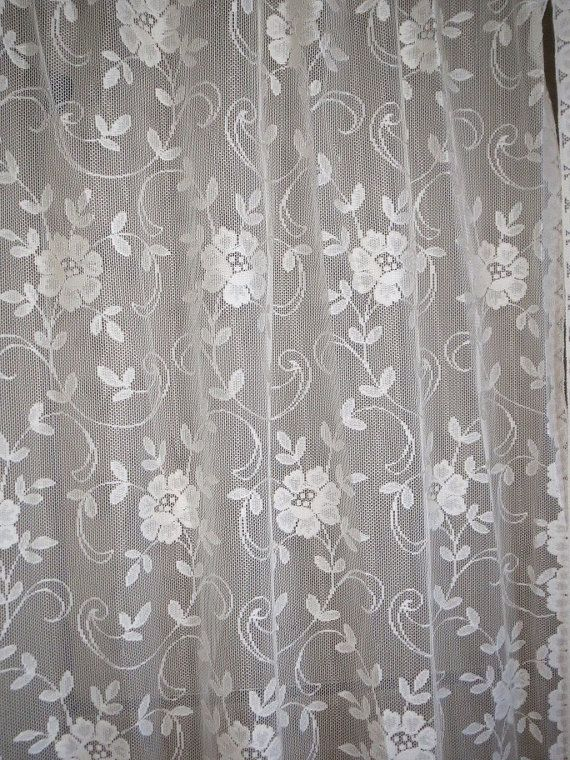 Vintage Creamy White Floral Lace Shower Curtain Opens In The