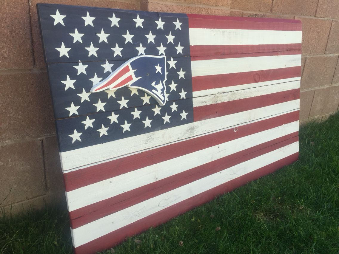 New England Patriots Wood Flag Flag Art Wood Flag Flag