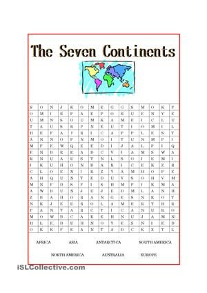 The Seven Continents | puzzles | Pinterest | Worksheets, Printable ...