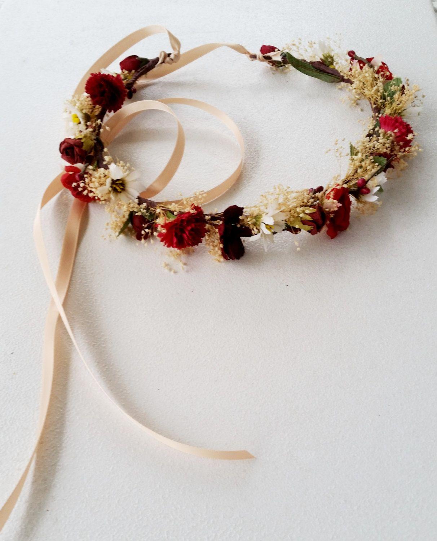 Vineyard Wedding Hair accessories Flower Crown Wine burgundy marsala ...