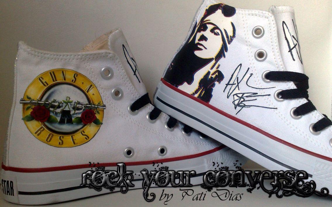 all stars guns n roses bianche Converse, joggesko, kule  Converse, Sneakers, Cool