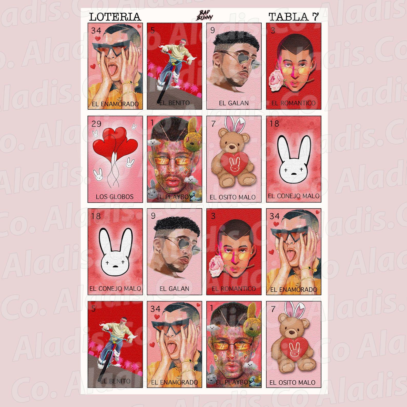 Bad Bunny Loteria Png File In 2021 Bunny Designs Printed Backdrops Digital Graphics