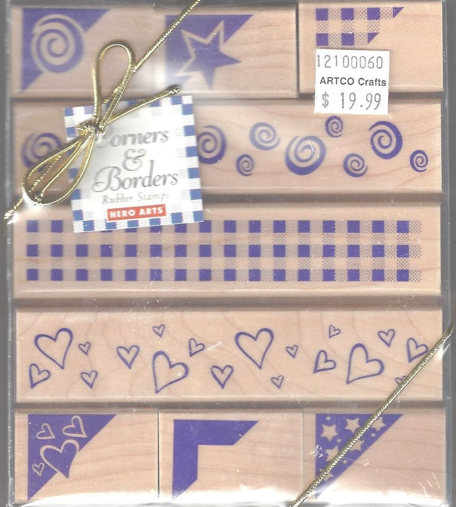Lot of Border & Corner Stamps Hearts Swirls Stars Plaid Gift WM Wooden Scrapbook #HeroArts #BordersCorners