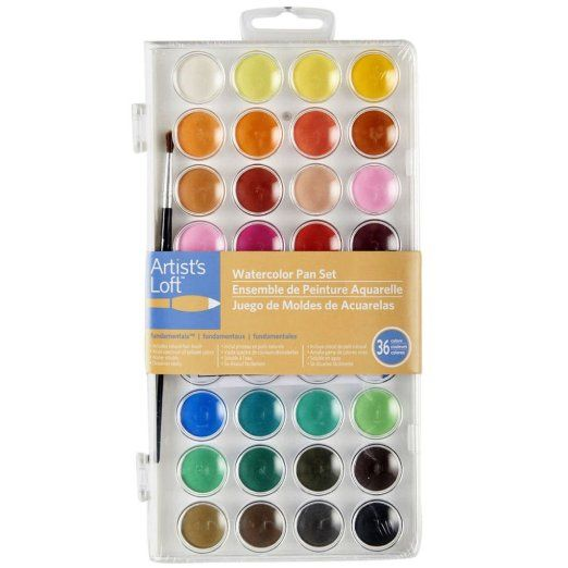 Artists Loft Fundamentals Watercolor Pan Set 36 Colors