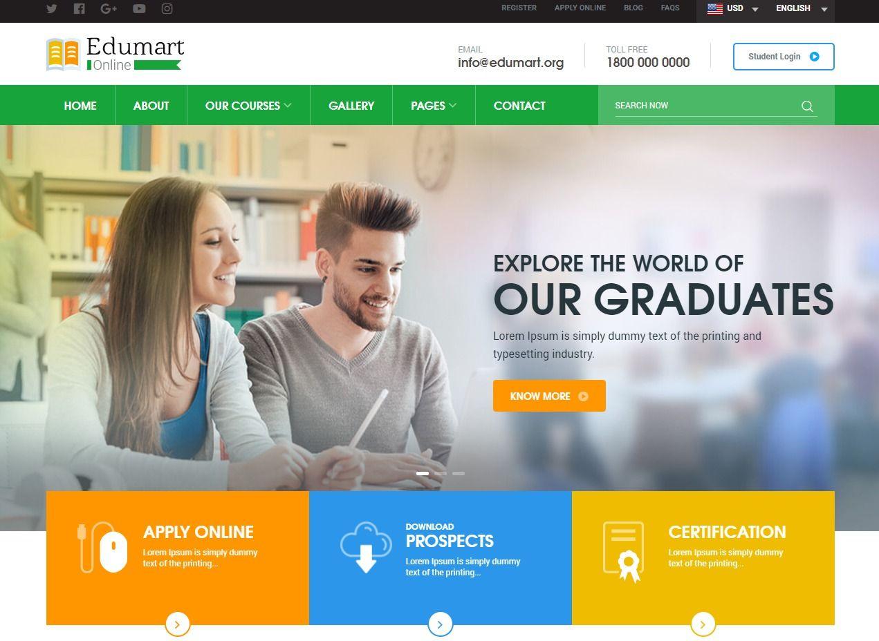 Edumart Html Education Website Template Education Website Templates College Website Free Website Templates