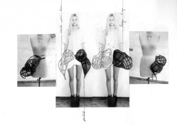 Fashion Sketchbook - cage skirt design development; fashion sketching // Amy Davidson