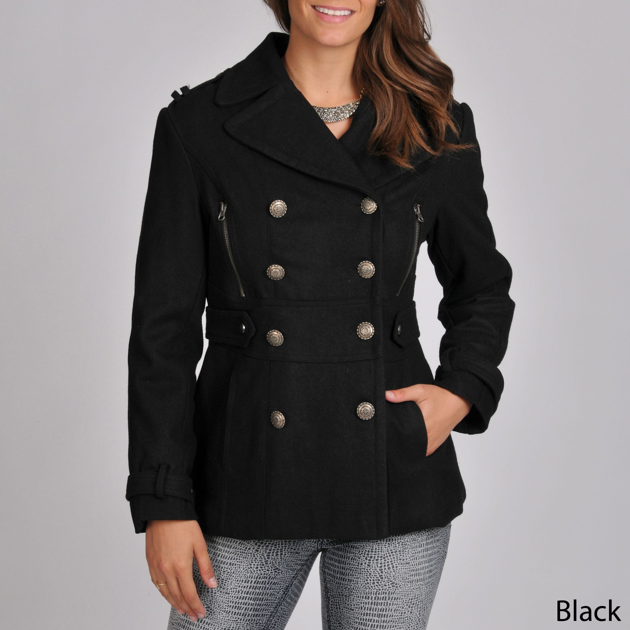 This women's wool blend coat from Excelled features a double-breasted double  front with a