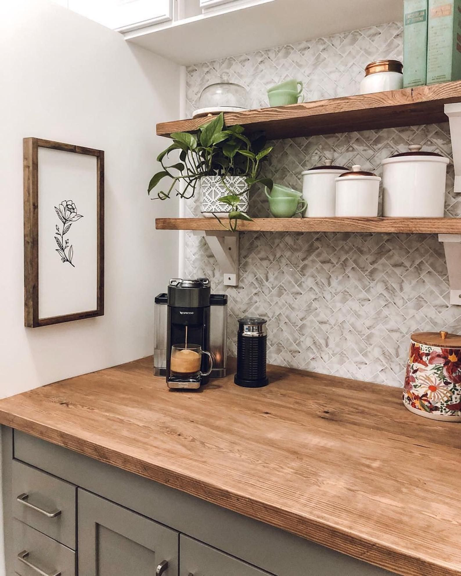 Wallpops Herringbone Carrara Marble Farmhouse Peel And Stick Backsplash Tile Nh2358 In 2020 With Images Rustic Kitchen Kitchen Remodel Scandinavian Kitchen