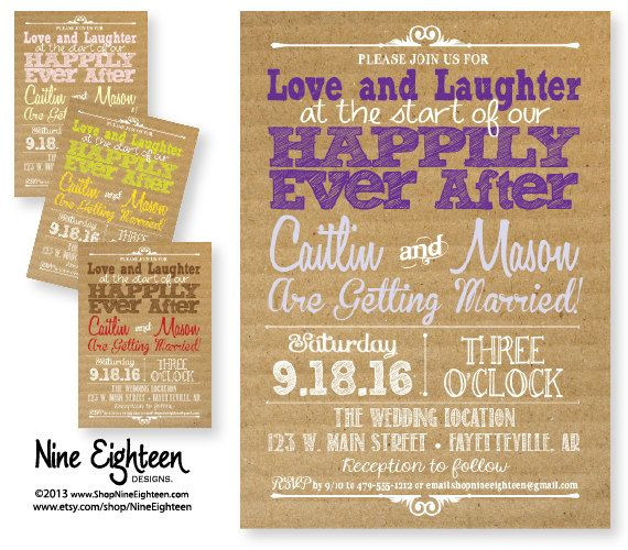 Celebrity Wedding Invites: Wedding Invitation Love Laughter And Happily Ever By