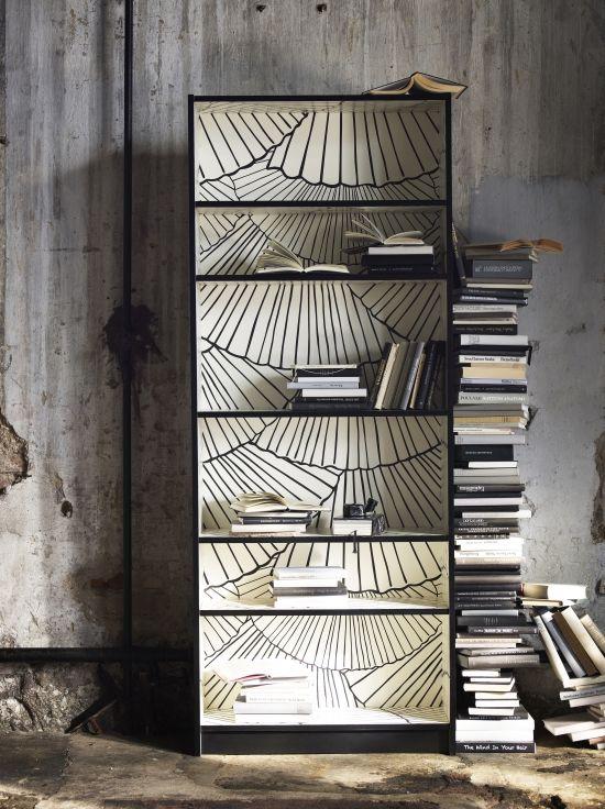 Alte Bucherregale Aufpeppen Liebevolle Ruckwand Deko Selber Machen Tapete Bucherregal Ikea Bucherschrank Billy Bucherregal