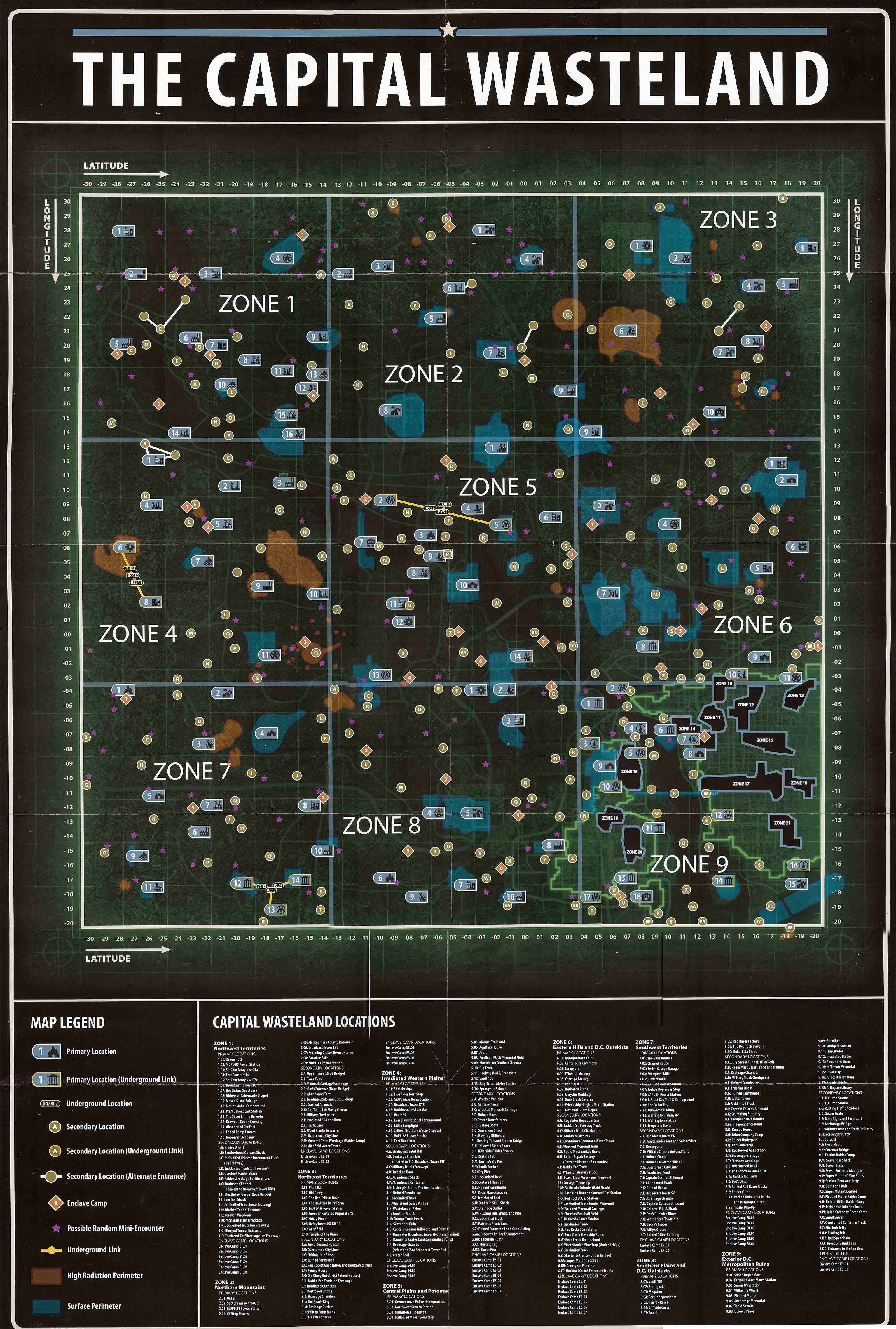Map Of The Capital Wasteland Fallout 3