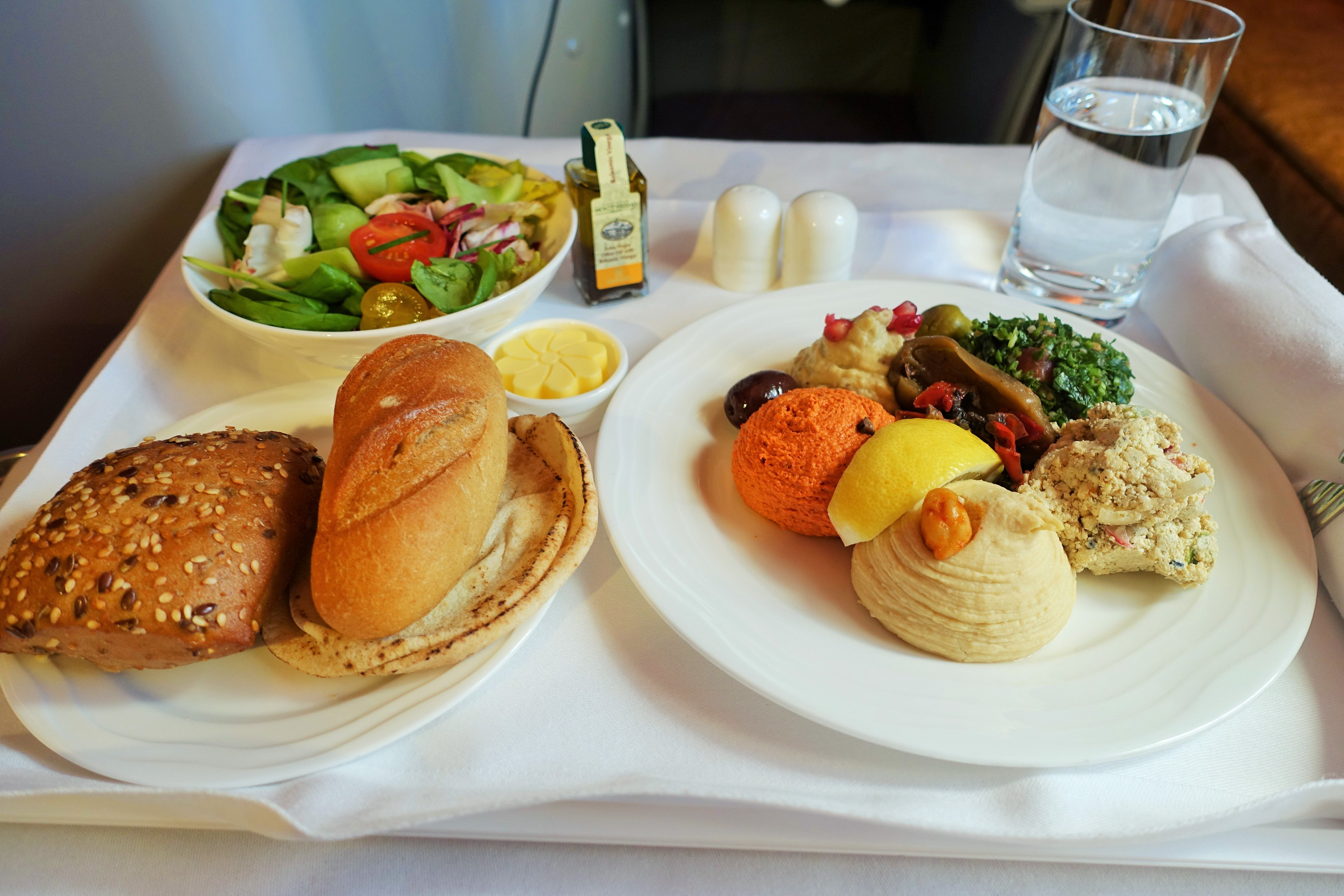 Emirates Business Meal Meze Plate Salad Bread Rolls On Tray A380 Cl Review