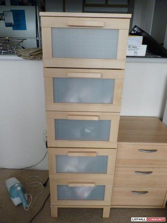 Ikea Aneboda Birch Tall 5 Drawer Dresser
