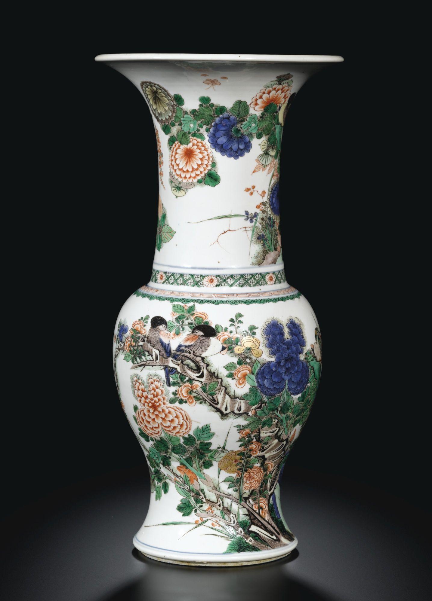 A Rare Famille Verte Birds And Flowers Yen Yen Vase Qing