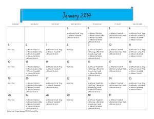 Fitting Into Vegan January 2014 Workout Calendar,