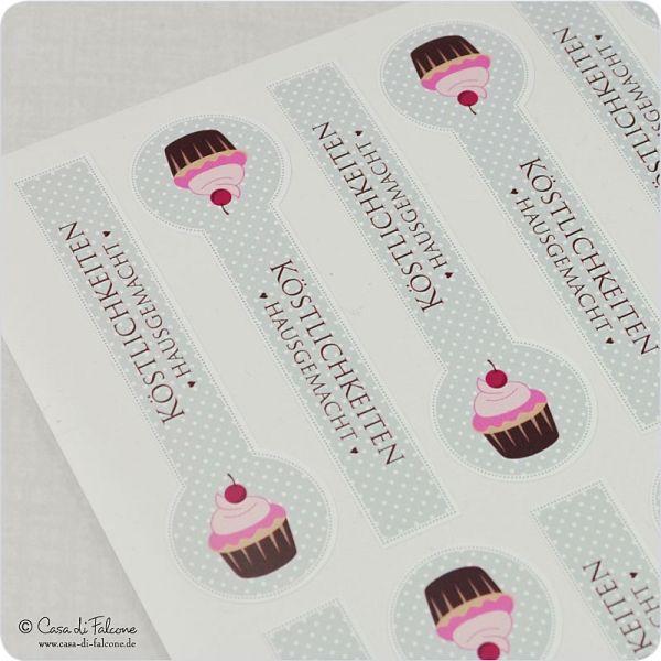 """Motivaufkleber Verschlussetiketten Muffin: Verschlussaufkleber """"Muffin"""" für besondere Verpackungen ♥ 12 konturengeschnittene Aufkleber, 80x25 mm ♥ ..."""