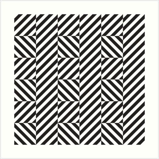 Op Art Pattern Black And White Diagonal Lines Art Print By Kallyfactory Op Art Pattern Art Art Prints