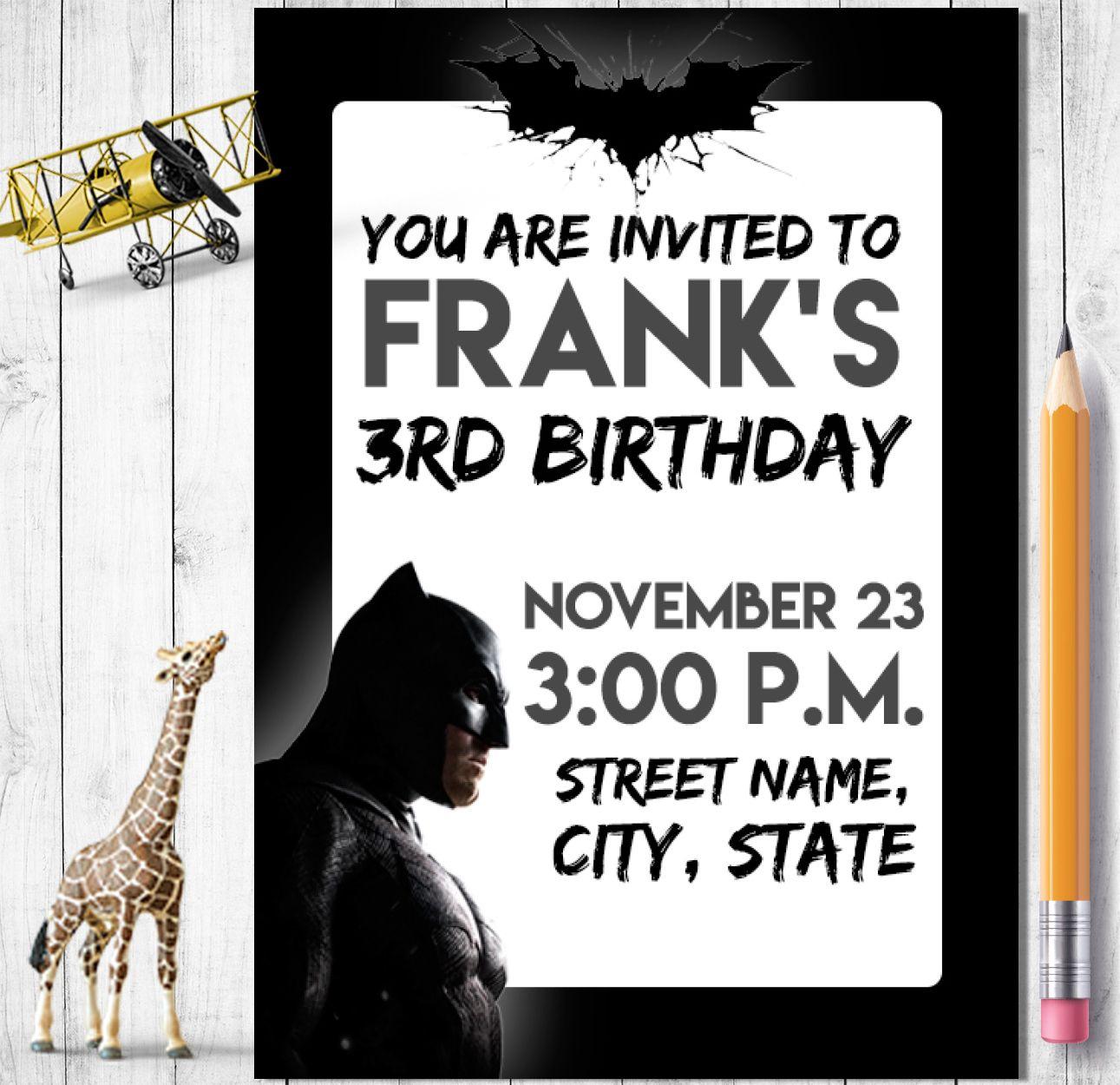 Batman Invitation - Batman Birthday Digital Invite - Batman Children ...