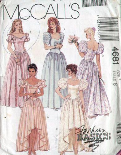 McCalls 4681 1990s Sweetheart Wedding Dress Pattern B30 UC ...