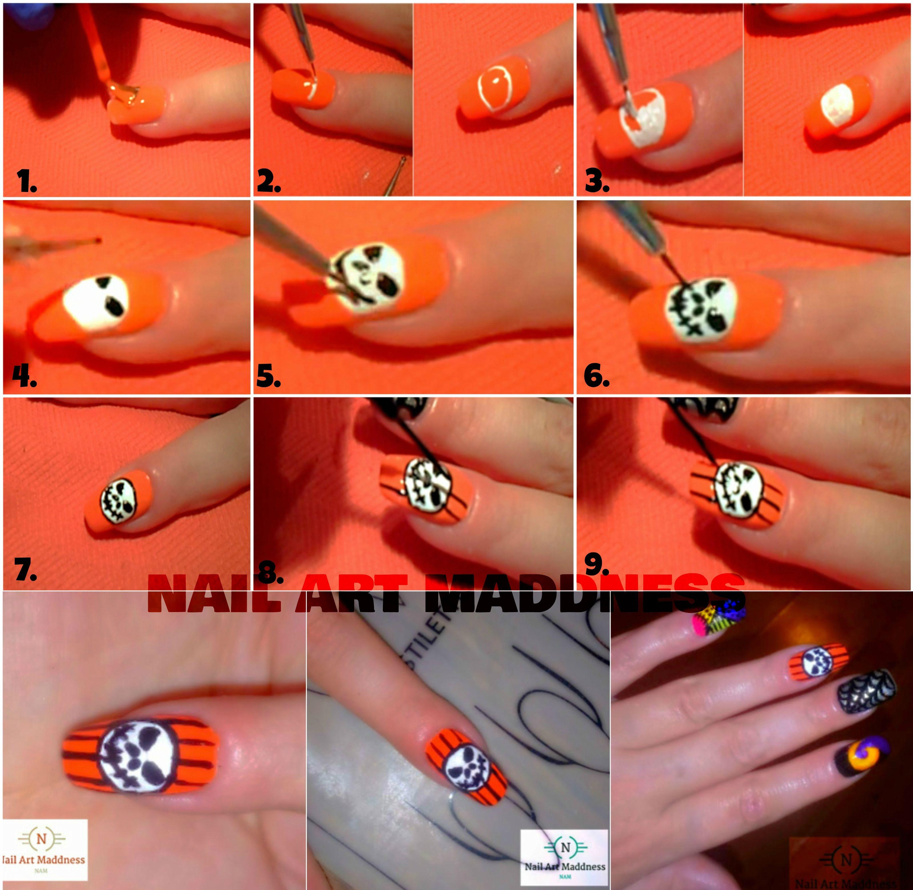 Step By Step Jack Skellington Nail Art Nightmare Before Christmas Nails Halloween Nail Art Nails