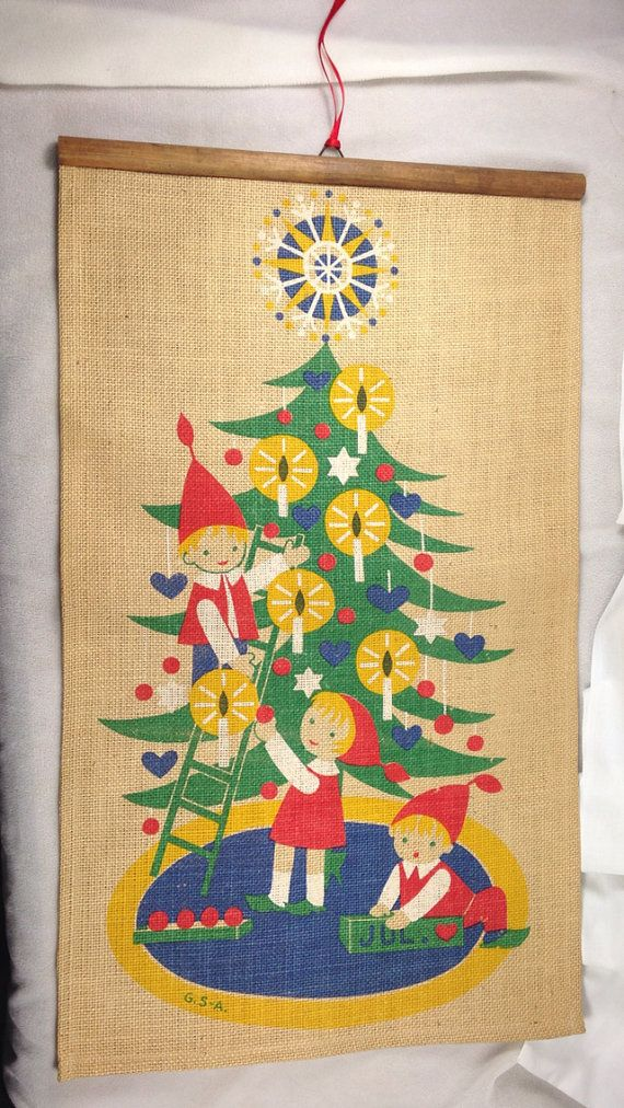 Jerry Roupe Swedish Christmas Wall Hanging ~ Elfs Decorating the ...