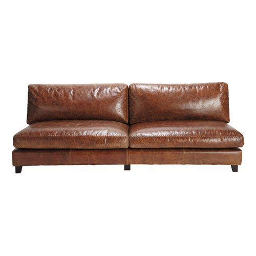 Vintage Sofa 2 3 Sitzer Aus Leder Braun Maisons Du Monde Braunes Ledersofa Vintage Sofa Sofa Leder Braun