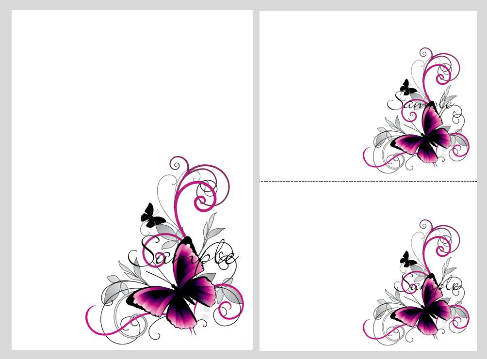 Pretty pink & black butterflies ~ blank invitation templates ...
