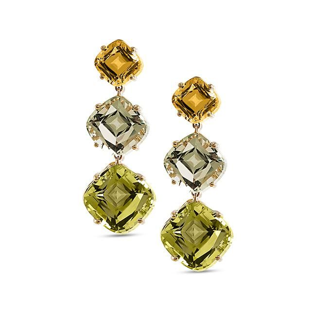 Goshwara Gossip Lemon Quartz & Peridot Earrings Wo18e