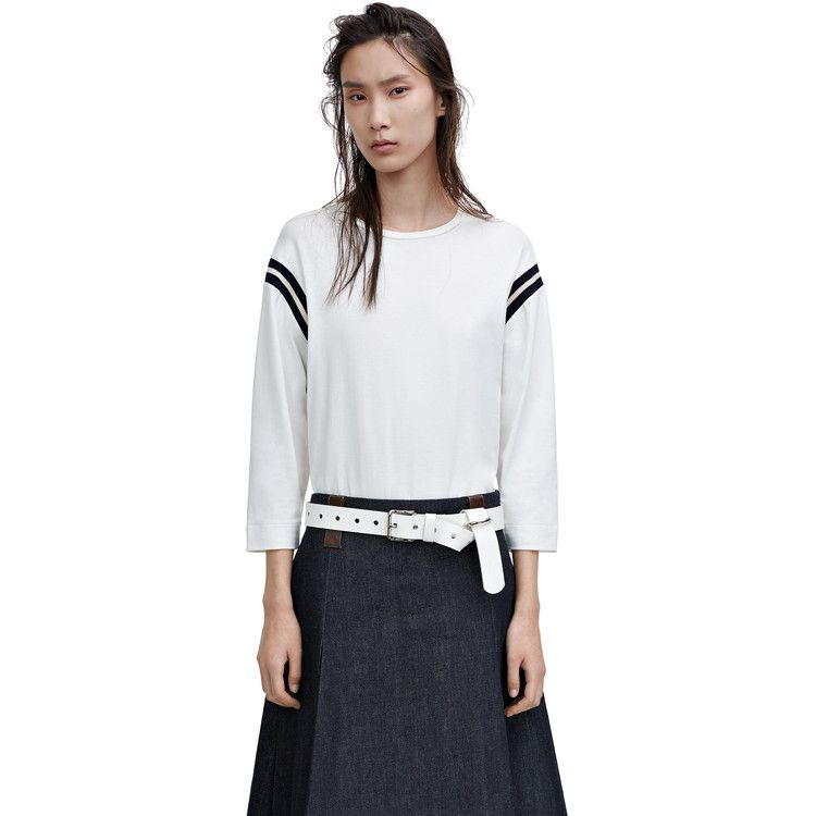 40eb218f02555 Acne Studios Minerva piq off white is an oversized, slim sleeve t-shirt  with a contrasting colour stripe.
