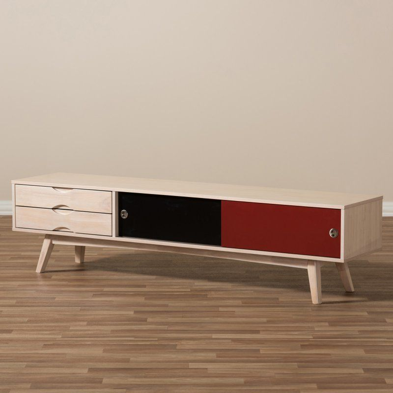 Baxton Studio Foxhill Mid Century Modern Scandinavian Multicolored Solid Wood TV Stand