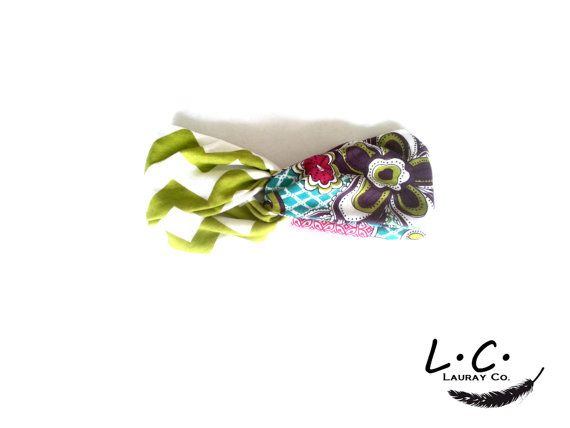 Colorful turban style head band. Perfect for this season! Chartreuse colored chevron/flower print mix. This headband has a fabric covered elastic back and fits most teen and adult head sizes.