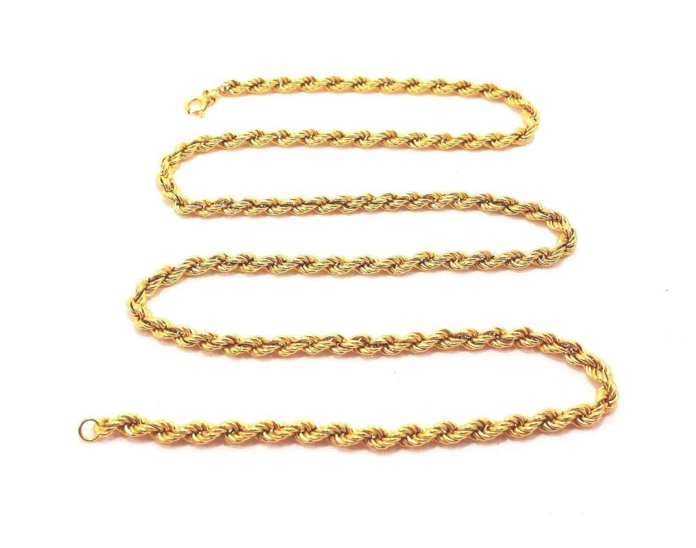 18k Solid Gold Rope Chain Heavy 16 12 Grams 24 In Length Spiralled Free Ship Gold Rope Chains Rope Chain Chain