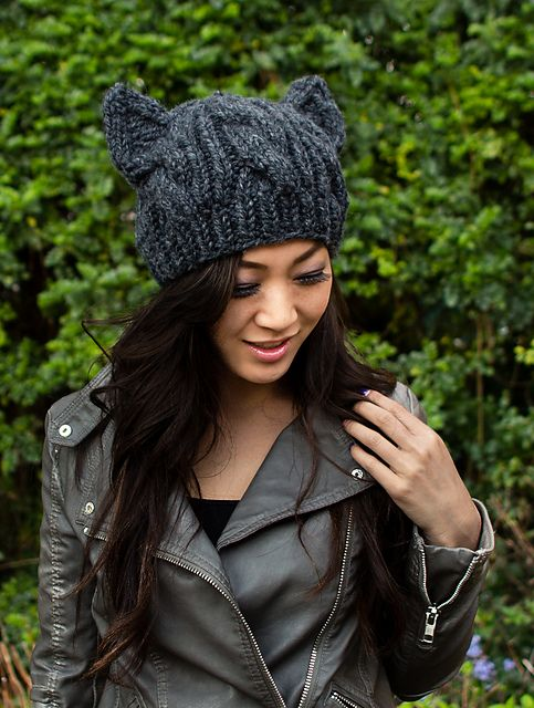 Ravelry  Cabled Cat Ears Hat pattern by Lorna Watt 6581ec168f08