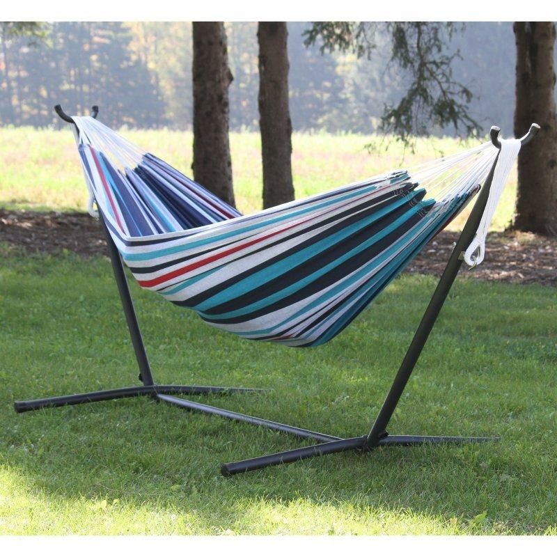 Hanging Chair · Vivere Double Fabric Two Person Hammock With Steel Stand    Hammock And Stand Sets At Hayneedle