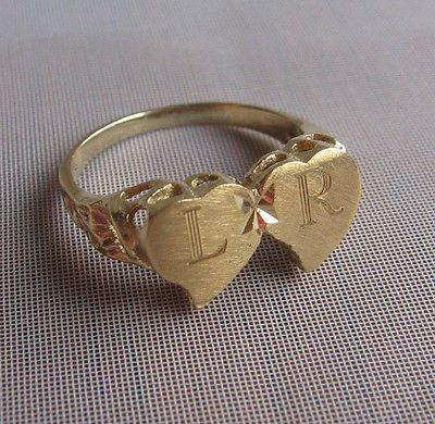 14k Yellow Gold Double Heart Friendship Sweet Heart Signet Ring
